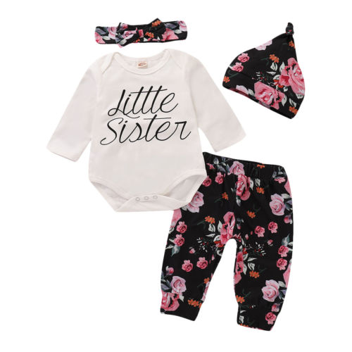 4PCS Newborn Baby Girl Romper+Floral Legging Pants+Headband+Hat Outfit Set