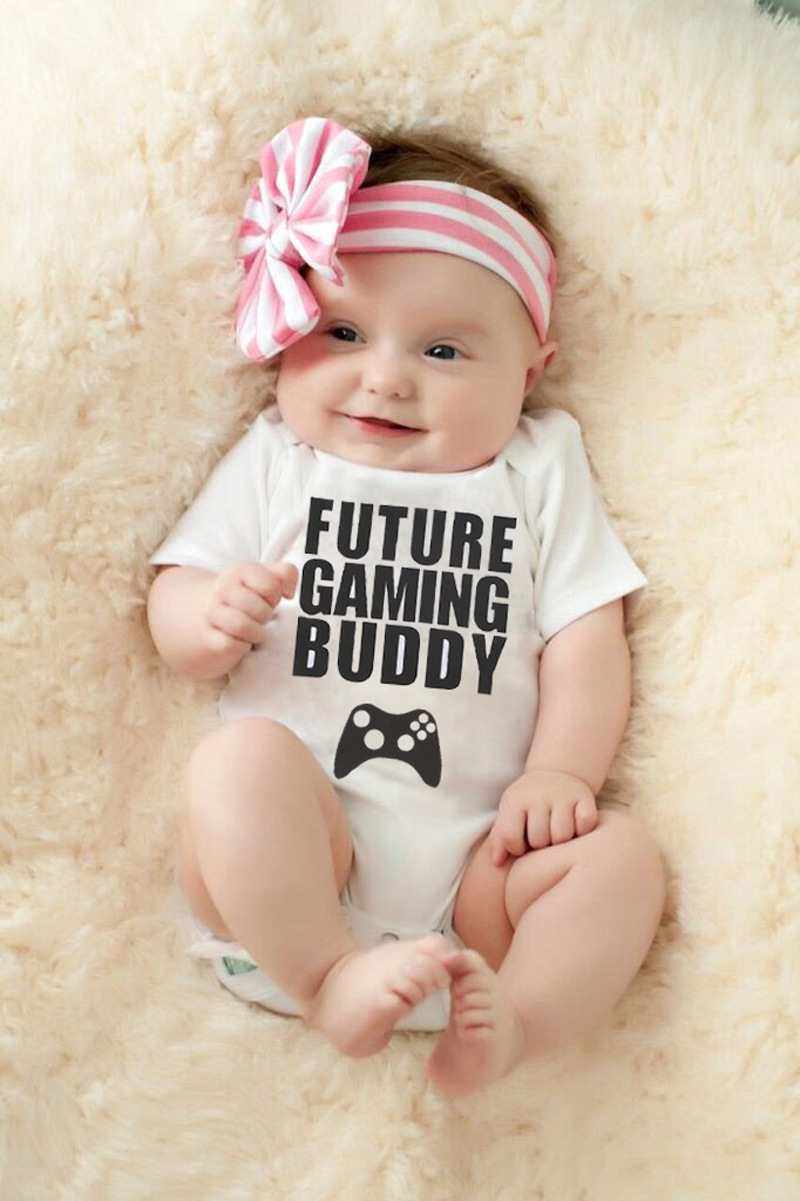 e23911e2d Hot Sale Fashion Designer Newborn Clothes Girls Summer Baby Bodysuits White  Letter Baby Jumpsuit for Kids Boy Free Shipping-in Bodysuits from Mother &  Kids ...