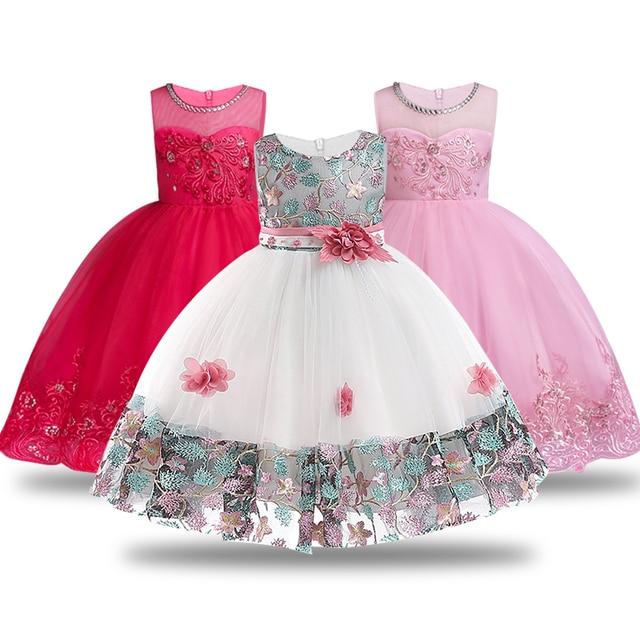 7d99bcef0f8 Bébé brodé robe de princesse formelle pour fille élégante robe de fête  d anniversaire fille