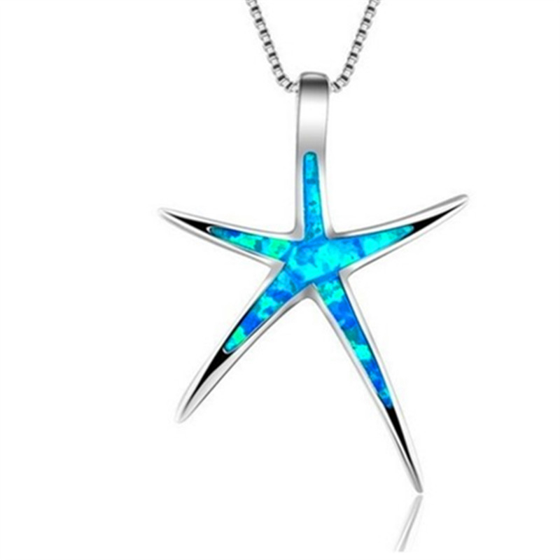 Maxi Statement Blue Opal Enamel Starfish Pendant Necklace Chain Collar Ocean Animal Necklaces Jewelry for Women Girl Accessories(China)