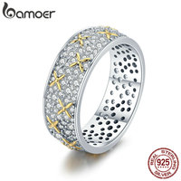 BAMOER Real 100 925 Sterling Silver Luminous CZ Firefly Lightning Bug Finger Rings For Women Cocktail