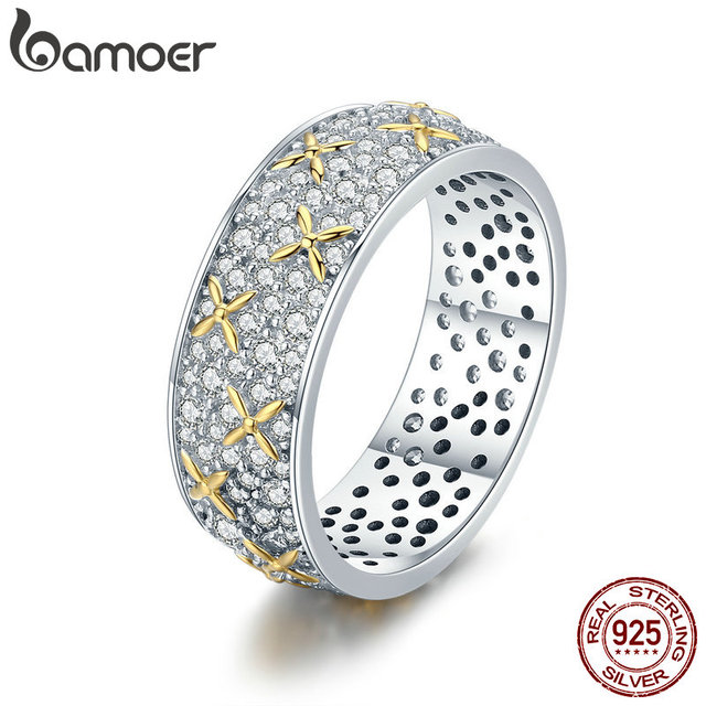BAMOER Real 100% 925 Sterling Silver Luminous CZ Firefly Lightning Bug Finger Ri