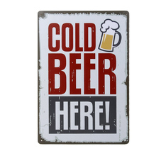 Cold Beer Here Painting Tin Sign Bar Pub Home Wall Decor Retro Metal Art Poster St. Patrick Day