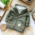 children's Spring thin Hoodie Baby zipper pocket army green sweater Boy's Cotton Out clothes