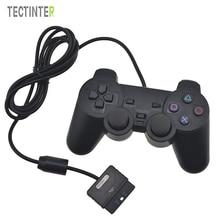 Venta caliente del Color Transparente Wired Controller Para Sony Playstation 2 Controle Para Sony PS2 Joystick Gamepad Vibración Doble Transparente