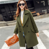 2018 Autumn Winter Women New Korean Slim Double breasted Women Woolen Coat Army Green