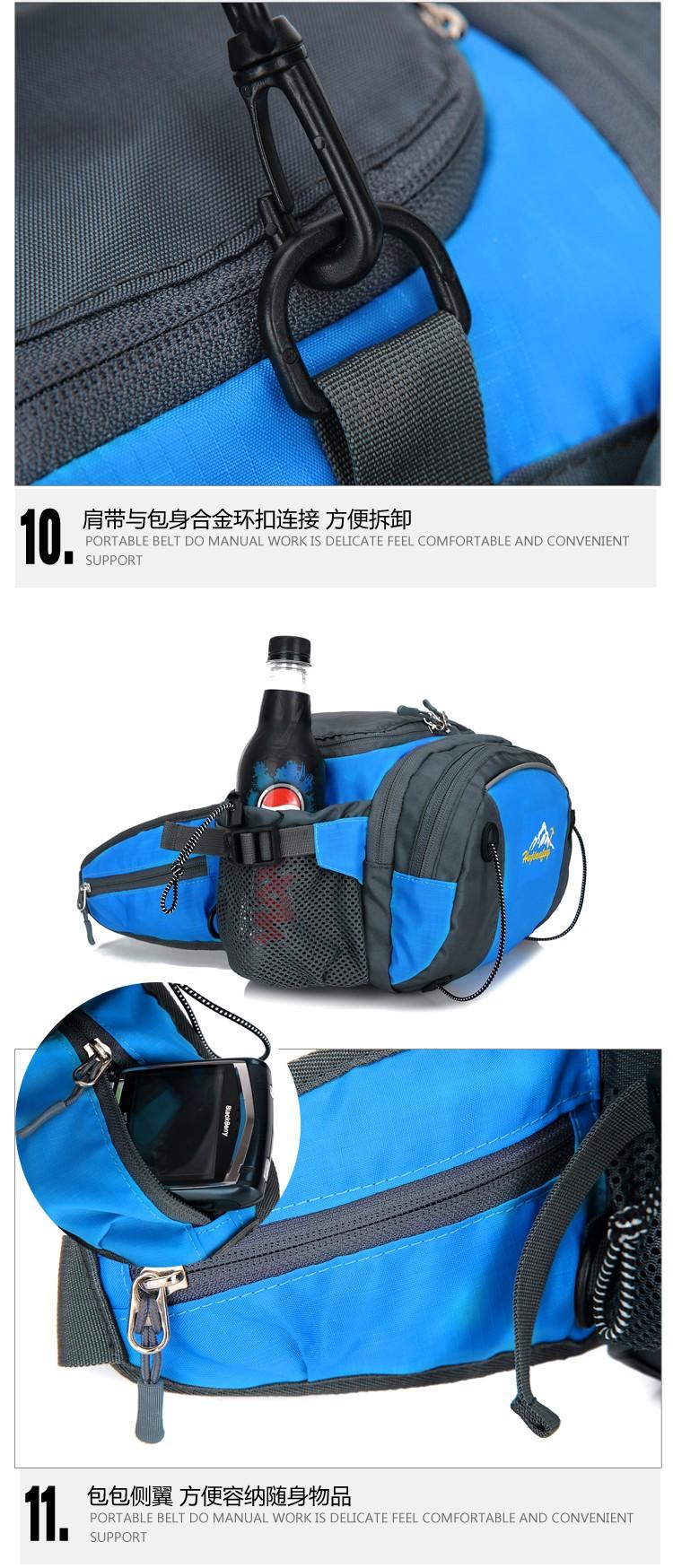 Men Women Sport Waist Bag Pack Backpack With Bottle Holder Outdoor Exploration Travel Casual Cycling Gym Storage Bag Packs (24)