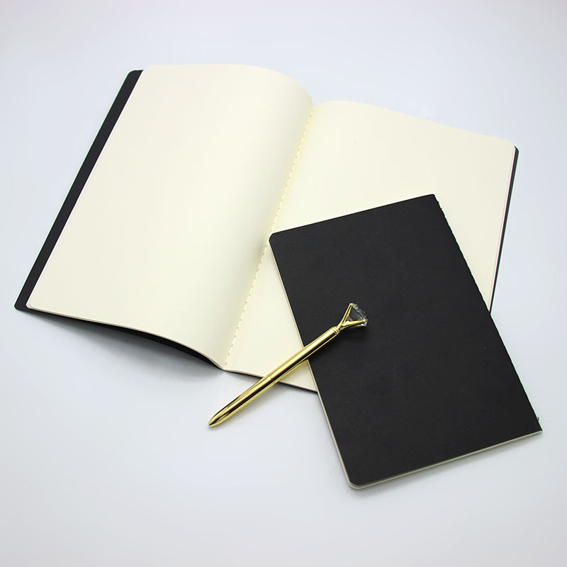 1Pcs A5 B5 Black Cover Notebook Stationery Blank Inner Paper Vintage Planner Sketchbook Diary Book Graffiti Note School Supplies four seasons leaves a5 notebook blank pages sketchbook graffiti drawing note book diy planner school supplies canetas