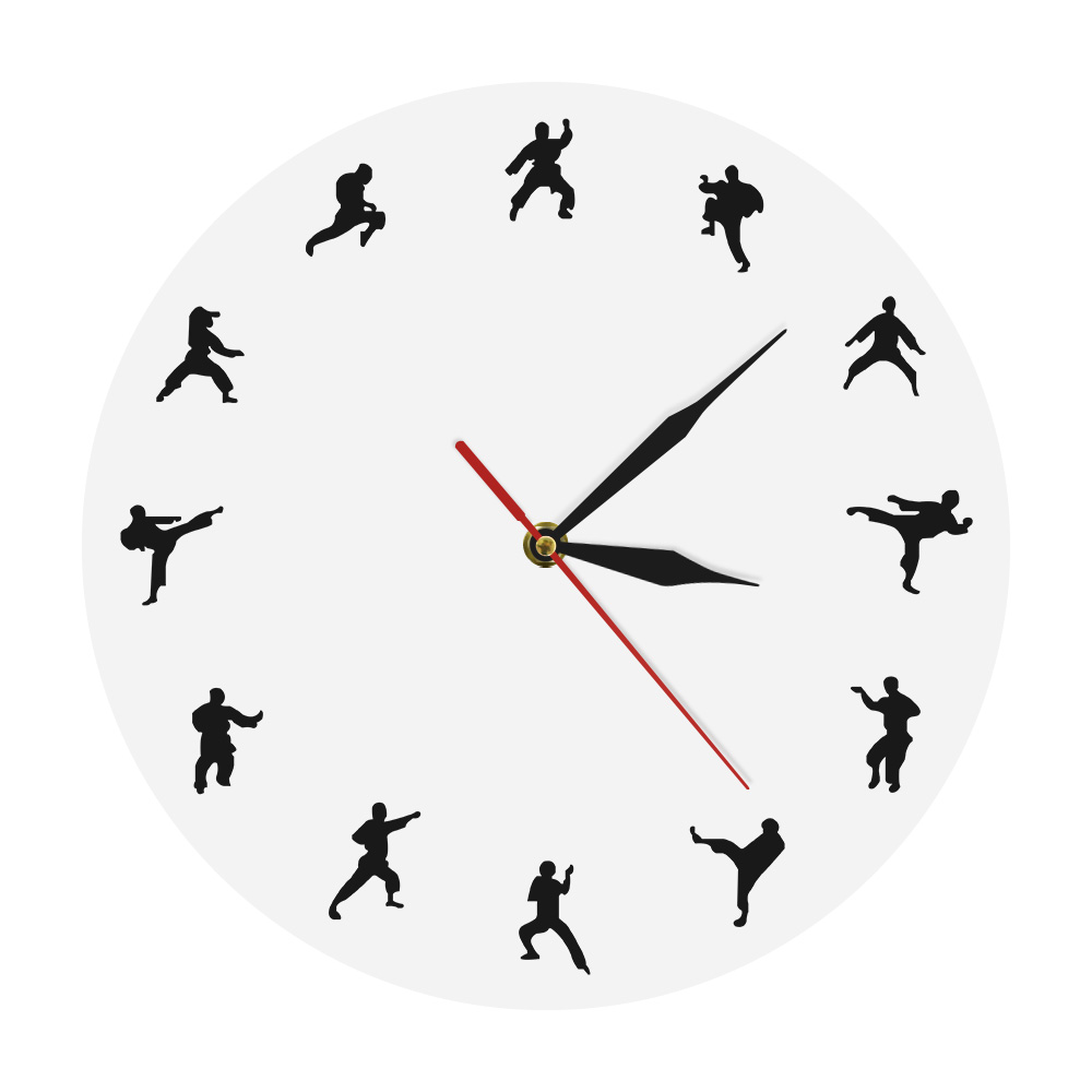 Taekwondo Karate Wall Clock Martial Arts Karate Club Modern Wall Decor Fighting Sports Kung Fu Exclusive Wall Clock Watch