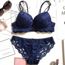New 2019 Bra Brief Set Sexy Thongs Women Push Up Lace Underwear Intimate Underwire Panty