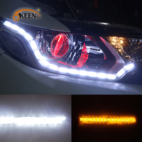 OKEEN Led Car Daylight 2Pcs Car Flexible Switchback LED Knight Rider Strip Light For Headlight DRL