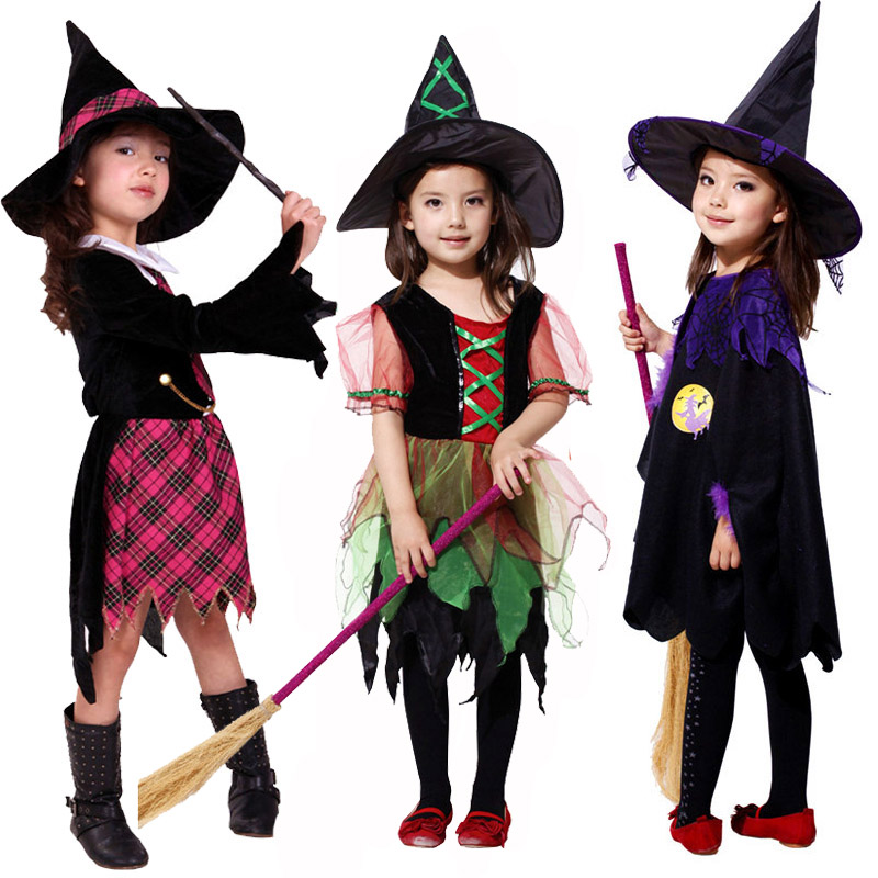 13 Style Witch Girls Halloween Carnival Party Dresses Kids Performance Cosplay Costumes for Children Masquerade Clothes with Hat