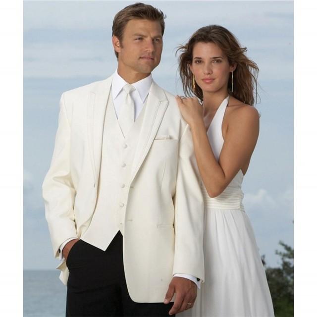 Envío Libre Por Encargo Blanco Estilo Caballero Trajes de Tres Piezas Traje de Boda Para Hombres (Jacket + Pants + chaleco) Venta Caliente
