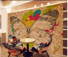 Hand-painted decorative painting graffiti butterfly pattern TV backdrop bedroom photo wall paper 3d(China)