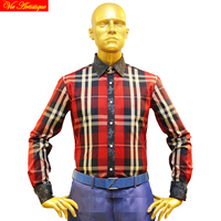 남성 긴 소매 캐주얼 드레스 셔츠 남성 큰 플러스 크기 격자 무늬 셔츠 스코