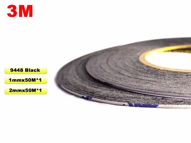 Mezcla 2 rollos (1mm + 2mm de ancho), 50 metros de largo, 3 M 9448 doble cinta adhesiva negra, Enlace para Samsung Xiaomi Huawei pantalla bisel,