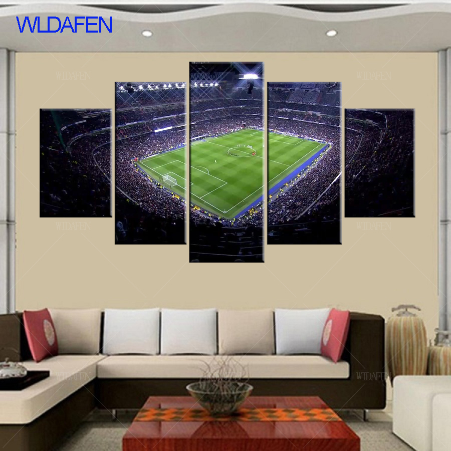 5 Pieces Madrid football Arena Group HD Printed Painting Canvas Oil Painting Sports Customized Wall Art Decor Living Room
