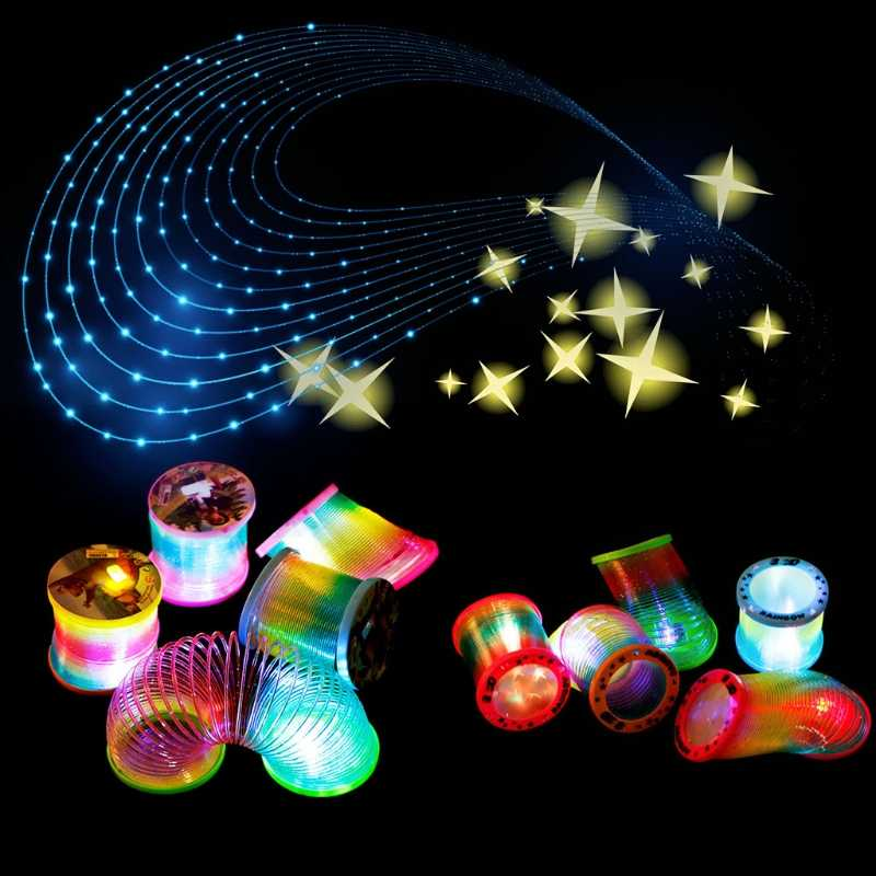1 шт. Горячие светятся в темноте Magic Пластик Slinky Радуга круг Весна Игрушка Мигает Красочные Детские забавные классический подарок