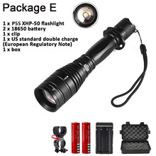 Super bright P55 1800Lumens CREE XHP50 5 mode Outdoor Zoom Spotlight Torch Hunting Tactics LED High Power Use 18650 Flashlight