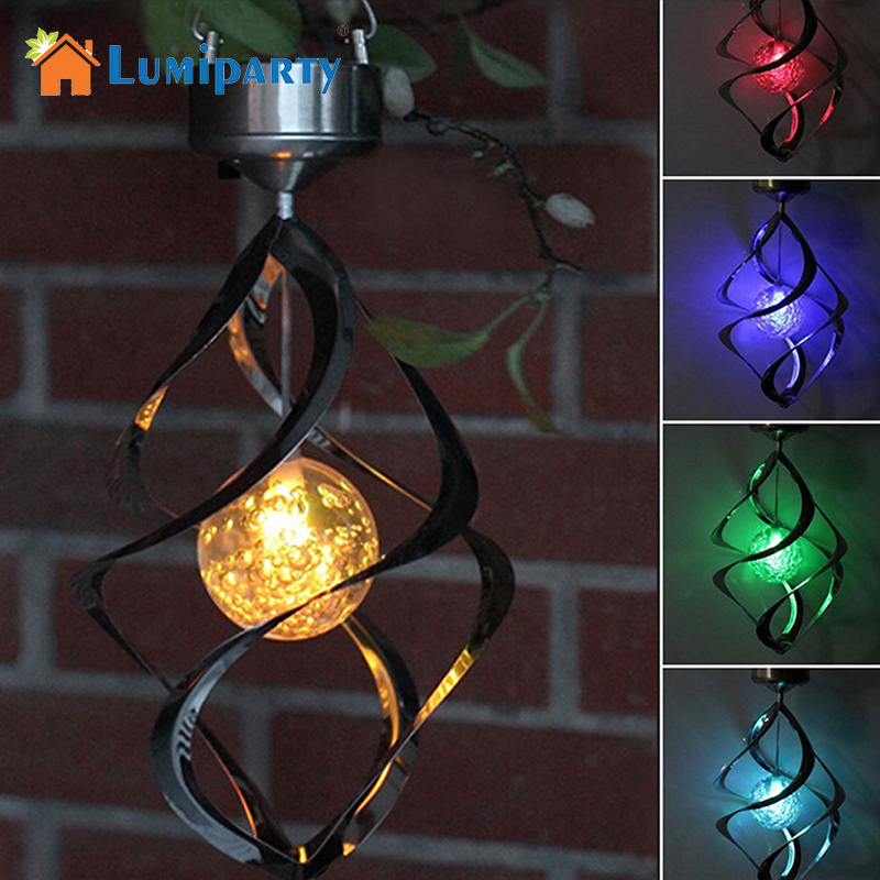 Lumiparty Solar Powered lights Wind Spinner LED Lamp Outdoor Hanging Wind Chime Light for Home Garden Lighting Decoration solar color changing led hanging wind spinner lamp for courtyard