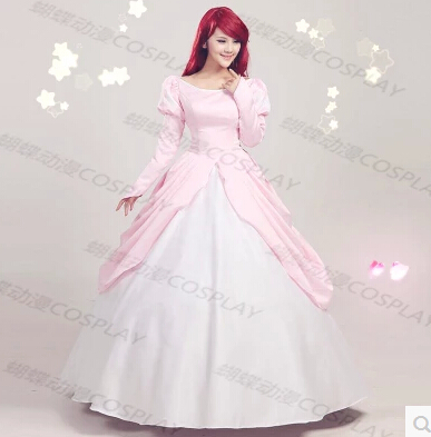 Pink Ball Gown Adult Princess Ariel Dress Cosplay Costume The ...