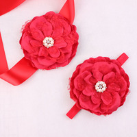 Baby Headband Flower Sash Belt Chiffon Flower Wedding Sash Maternity Sash Belt Mathcing Headband