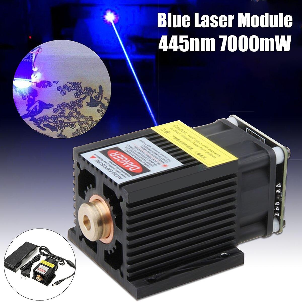 EleksMaker 445nm 7W DC 12V 7000mW Blue Laser Module TTL/PWM With Heatsink For DIY Laser Engraver Machine цена 2017