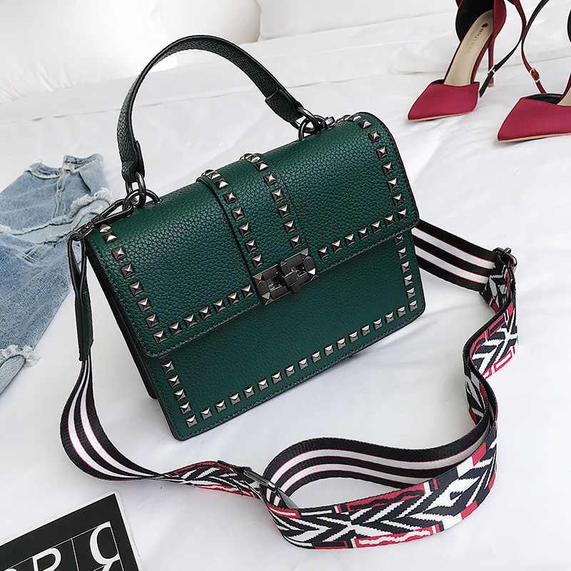 ccc747114551 ... 2018 Брендовые женские сумки роскошные сумки женские сумки-мессенджеры  с заклепками сумка для девочек модная ...