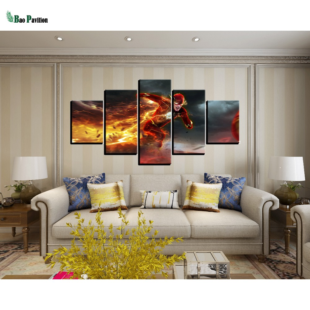 Framework Pictures Home Decor Canvas Painting 5 Panel The Flash Running Modular Top Rated Wall For Living Room Modern Type in Painting Calligraphy from Home Garden