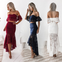 Sexy Women Suit Elegant Two Piece Sets Party Outfits White Lace Bodycon Strapless