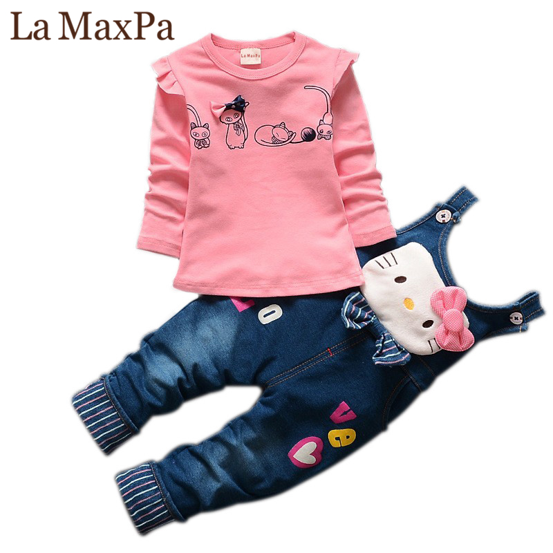 La MaxPa Spring Autumn Baby Girls Clothing Set Toddler Long Sleeve Blouse + Denim Overalls Jeans Pants Kids Clothes Set cotton baby rompers set newborn clothes baby clothing boys girls cartoon jumpsuits long sleeve overalls coveralls autumn winter
