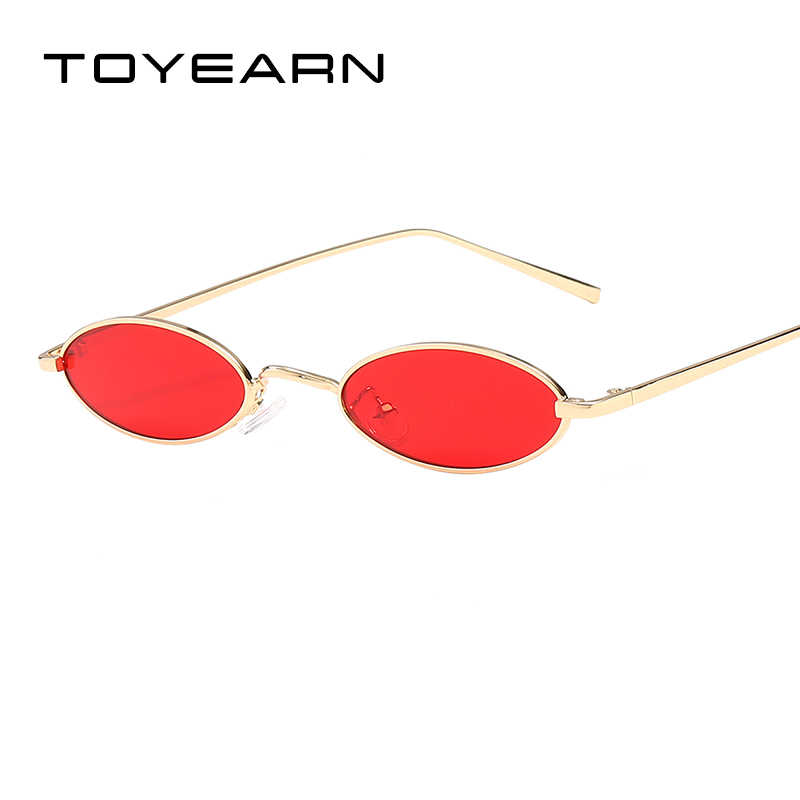 6ab60132df TOYEARN 2018 New Fashion Vintage Small Oval Sunglasses Women Brand Designer  Clear Drops Lens Sun Glasses
