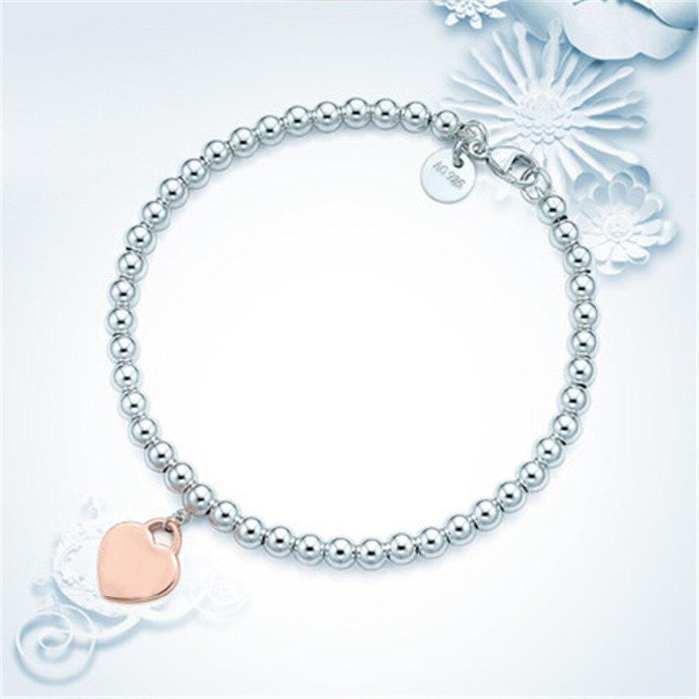 100% 925 Sterling Silver Genuine Original Charm Heart Bead Bracelet Original Female Jewelry Personality Gift logo pendants (3)