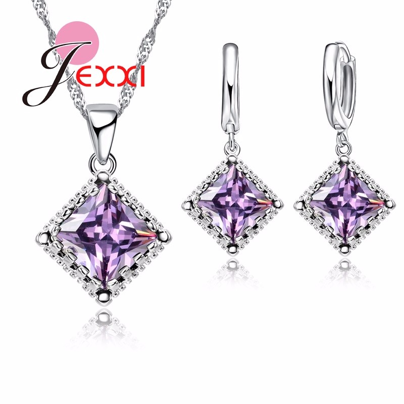 JEMMIN Real 925 Sterling Silver Chain Square Cubic Zircon Pendant Necklace Drop Earrings For Female Women Crystal Jewelry  Gifts