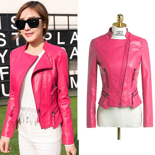 Spring 2015 leather jacket women's ,High Quality Short Slim Very ...