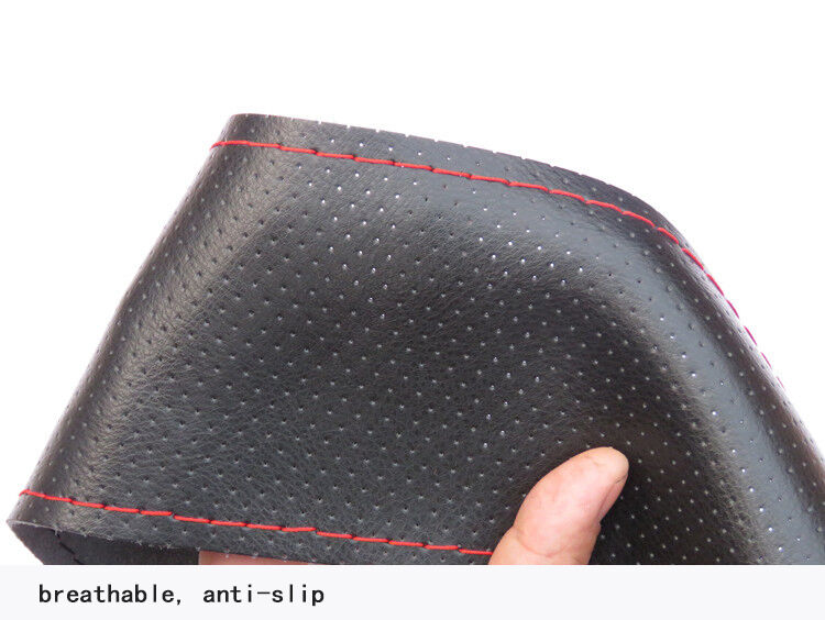 GREY DIY Genuine Cowhide Car Braid Leather Steering Wheel Cover 38 CM Universal