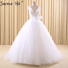 V-Neck Vintage White Tulle Princess Wedding Dresses 2017 Fashion Sexy Sleeveless With Bow Bridal Gowns Robe De Mariee