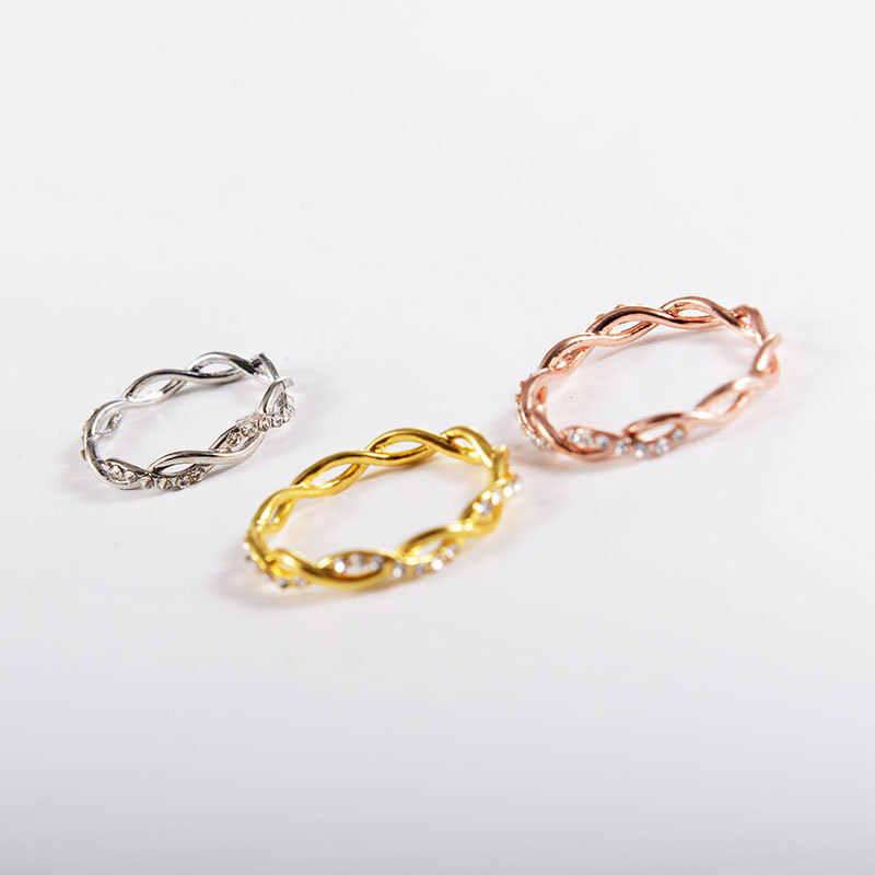 รอบแหวนผู้หญิงบาง Rose Gold สี Twist เชือกซ้อนแหวนสแตนเลส bijoux