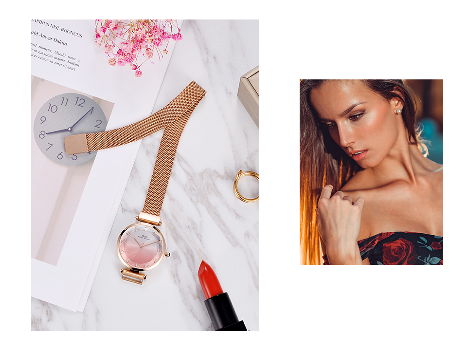 Fashion Women Hit Color Watches Female Cut Glass Design Quartz Watch Magnet Buckle 13