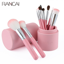 RANCAI pink 10pcs makeup brush set cylinder full of beauty tools