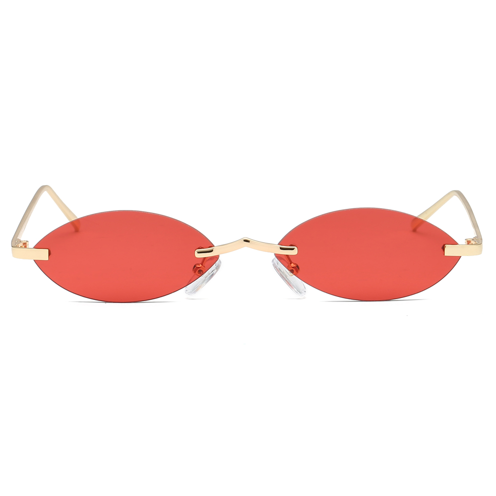 c12963ebaf3cd Peekaboo pequeno do vintage oval óculos de sol sem aro mulheres 2019 retro  mini óculos de sol para homens espelho uv400 metal ouro azul vermelho em  Óculos ...