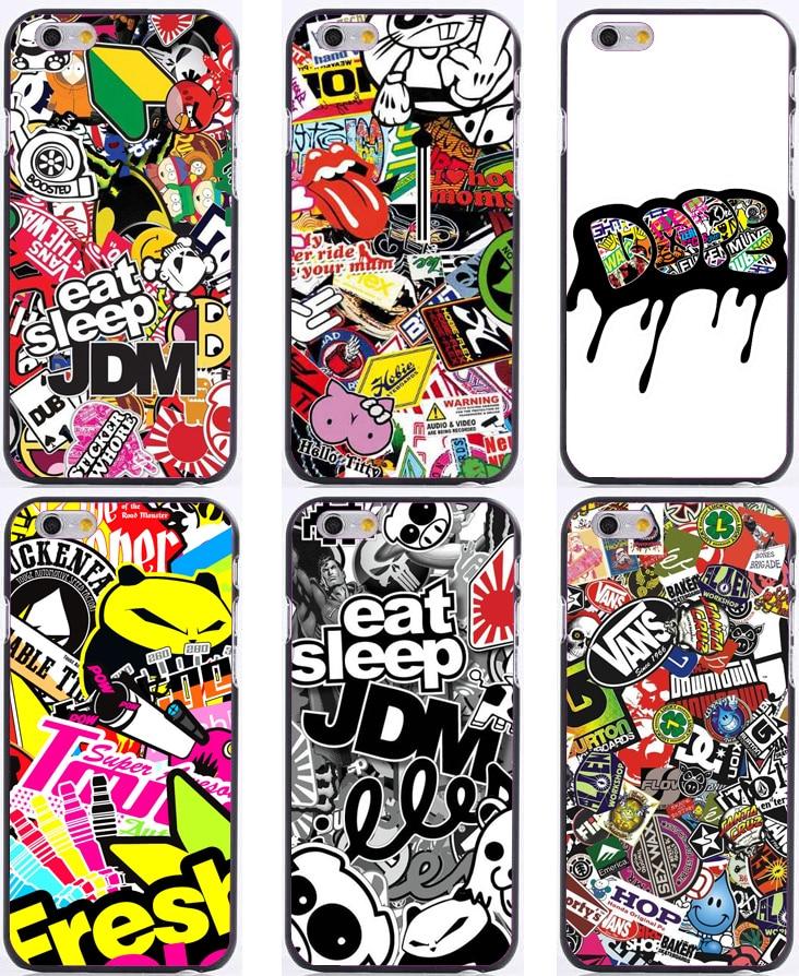 JDM Sticker bomb design print plastic hard phone cases for iphone 6 case 6plus 5 5s 5c 4s