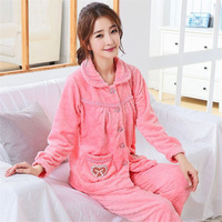 Liva Girl Winter Autumn Fashion Long Sleeve Pajamas Add Hair Thickening Thermal Long Sleeve Flannel Leisure