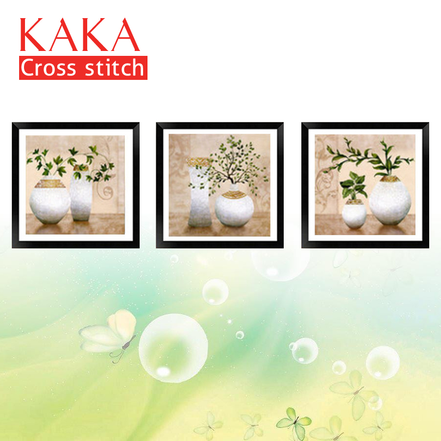 KAKA Cross stitch kits,5D Triplets Vase Plants,Embroidery needlework sets with printed pattern,11CT canvas,Home Decor Painting