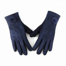 Зимняя женская кашемировая замша, кожаная меховая перчатка, женские толстые плюс плюшевые ветрозащитные Теплые наручные перчатки для вождения с сенсорным экраном, B75