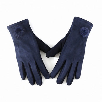 Winter Windproof Touch Screen Gloves for Female made of Cashmere Suede Leather Allows to Use Touch Screen Device Freely