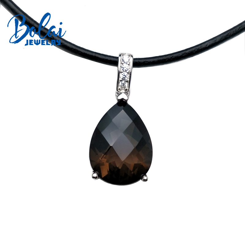 Bolaijewelry,natural smoky,green agate pear 12*16mm pendant with leather chord necklace 925 silver  for women anniversary giftBolaijewelry,natural smoky,green agate pear 12*16mm pendant with leather chord necklace 925 silver  for women anniversary gift