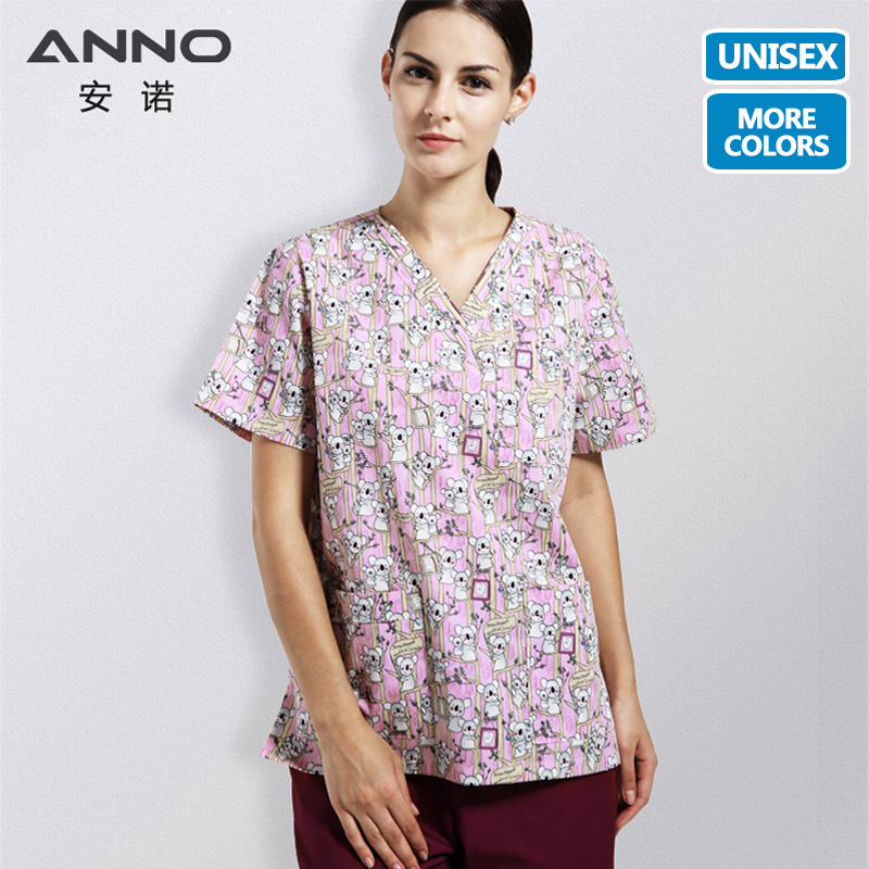 ANNO Cartoon Scrubs Medical Clothing Hospital Suit For Women And Man Nursing Uniform Health And Beauty Care Work Wear