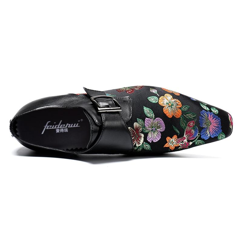 Plus Homme Noce La Noir Taille Chaussures En Hommes Élégant Bout Club Moderne Sangle Moine Piste Mocassins Véritable Sl123 Cuir De Pointu Pour rrqa0w1