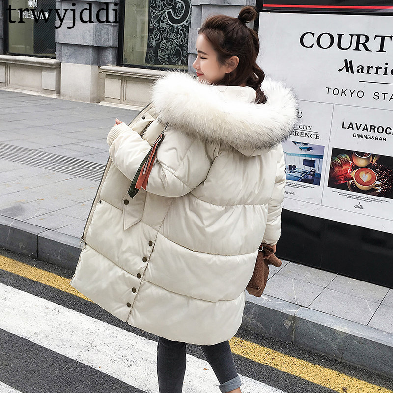 2018 New Fashion Plus Size Loose Solid Big Fur Collar Women Winter Coat Thick Down   Parka   Long Winter Down Cotton Jacket Outwear